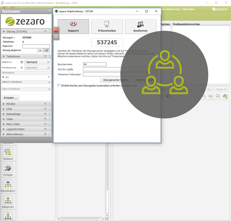 Online Meetings mit dem Multikanal Clienten abhalten